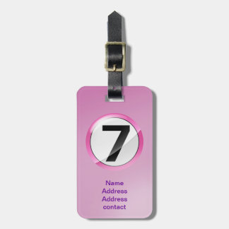 lucky number 7 pink luggage tag