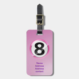 lucky number 8 pink luggage tag
