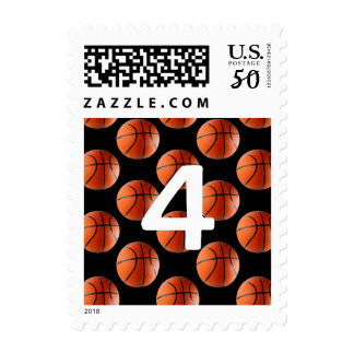 Lucky Number Basketball on pattern background Postage