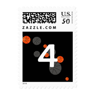Lucky Number Basketballs on black background Postage