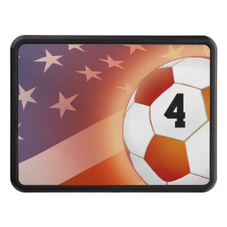 Lucky Number Color Soccer ball on USA flag Trailer Hitch Covers
