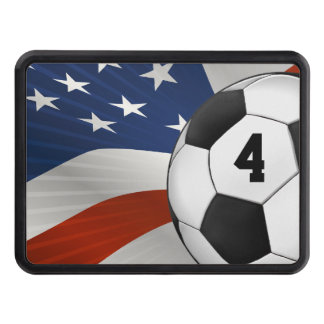 Lucky Number Soccer ball on USA flag Trailer Hitch Cover