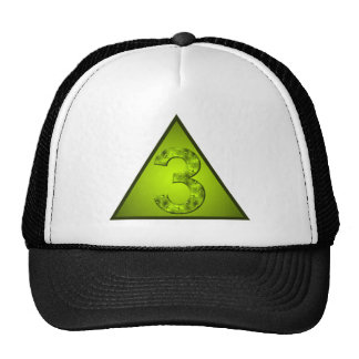 Lucky Number Three Green Triangle Crest Mesh Hats