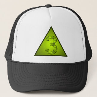 Lucky Number Three Green Triangle Crest Trucker Hat