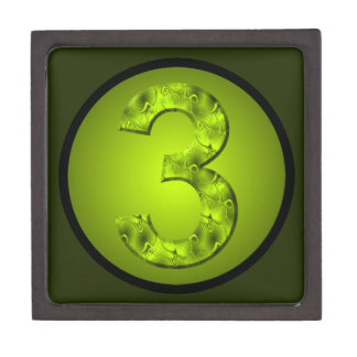 Lucky Number Three Nature Green Circle Design Jewelry Box