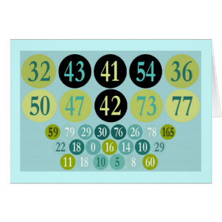 Lucky Numbers, colourful design, template Greeting Card