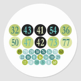 Lucky Numbers, fashion design, template Classic Round Sticker