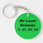 Lucky Numbers Single-Sided Round Acrylic Keychain