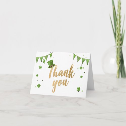 Lucky One St Patricks Day Thank You Card Clover