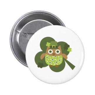 Lucky Owl Pinback Button