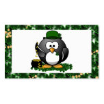 Lucky Penguin with Pot of Gold and Shamrocks Business Card Template