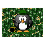 Lucky Penguin with Pot of Gold and Shamrocks Business Card