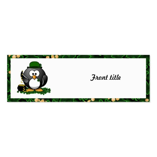 Lucky Penguin with Pot of Gold and Shamrocks Business Card Templates