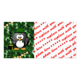 Lucky Penguin with Pot of Gold and Shamrocks Card