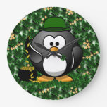 Lucky Penguin with Pot of Gold and Shamrocks Clocks