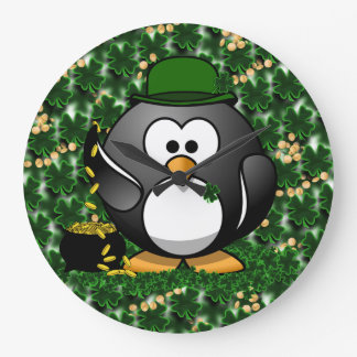 Lucky Penguin with Pot of Gold and Shamrocks Large Clock