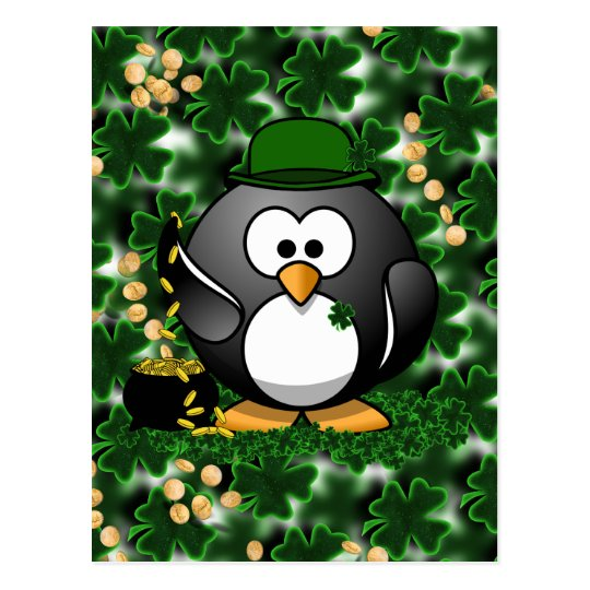 Lucky Penguin with Pot of Gold and Shamrocks Postcard