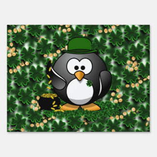 Lucky Penguin with Pot of Gold and Shamrocks Lawn Sign