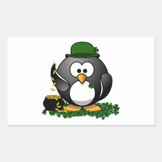 Lucky Penguin with Pot of Gold Rectangular Sticker