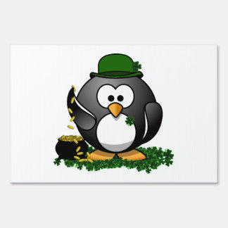 Lucky Penguin with Pot of Gold Yard Signs