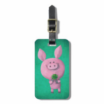 Lucky pig with lucky four leaf clover bag tag
