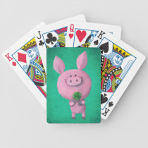 artsprojekt, pig, clover, lucky, lucky pig, four-leaf clover, lucky clover, lucky charm, lucky gift, good luck, adorable pig, little pig, little piggy, illustration pig, [[missing key: type_bicycle_playingcard]] com design gráfico personalizado