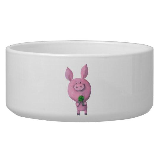 Lucky pig with lucky four leaf clover bowl