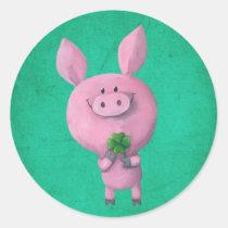 artsprojekt, pig, clover, lucky, lucky pig, four-leaf clover, lucky clover, lucky charm, lucky gift, good luck, adorable pig, little pig, little piggy, illustration pig, Sticker with custom graphic design