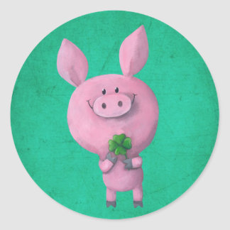 Lucky pig with lucky four leaf clover classic round sticker