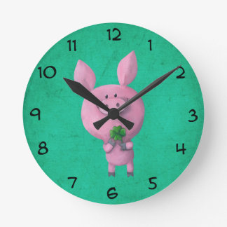 Lucky pig with lucky four leaf clover clocks