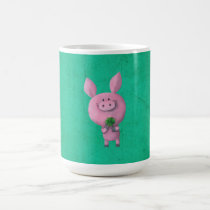 artsprojekt, pig, clover, lucky, lucky pig, four-leaf clover, lucky clover, lucky charm, lucky gift, good luck, adorable pig, little pig, little piggy, illustration pig, Mug with custom graphic design