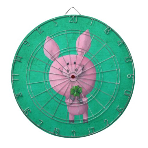 Lucky pig with lucky four leaf clover dartboard