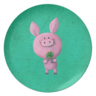 Lucky pig with lucky four leaf clover dinner plate