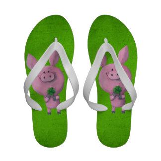 Lucky pig with lucky four leaf clover Flip-Flops