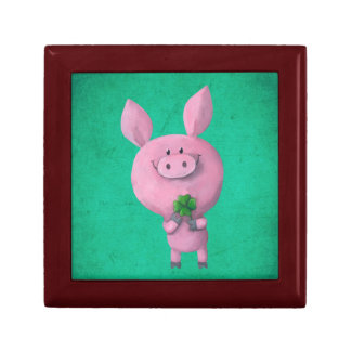 Lucky pig with lucky four leaf clover trinket boxes