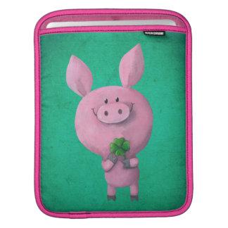 Lucky pig with lucky four leaf clover sleeve for iPads