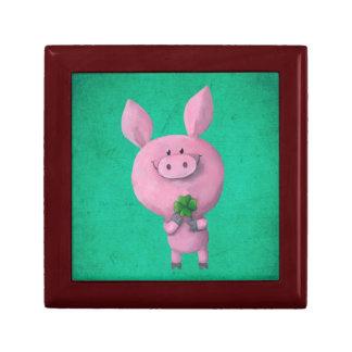 Lucky pig with lucky four leaf clover keepsake box