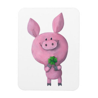 Lucky pig with lucky four leaf clover magnet