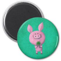 Lucky pig with lucky four leaf clover magnet