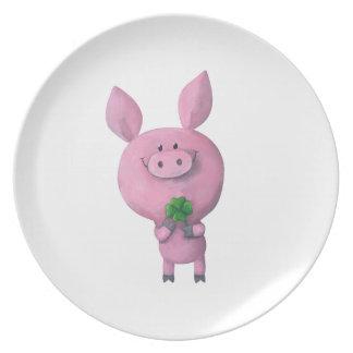 Lucky pig with lucky four leaf clover melamine plate