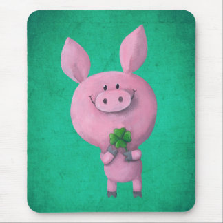Lucky pig with lucky four leaf clover mouse pad