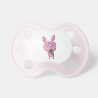 Lucky pig with lucky four leaf clover pacifier