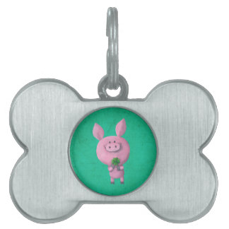 Lucky pig with lucky four leaf clover pet tag