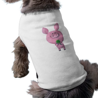 Lucky pig with lucky four leaf clover pet tshirt