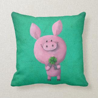 Lucky pig with lucky four leaf clover throw pillows