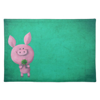 Lucky pig with lucky four leaf clover placemats