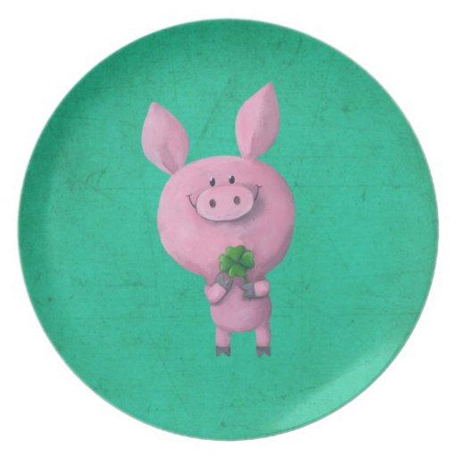 Lucky pig with lucky four leaf clover plate