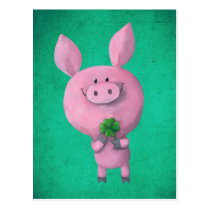 Lucky pig with lucky four leaf clover postcard