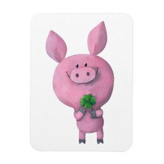 Lucky pig with lucky four leaf clover rectangular magnet