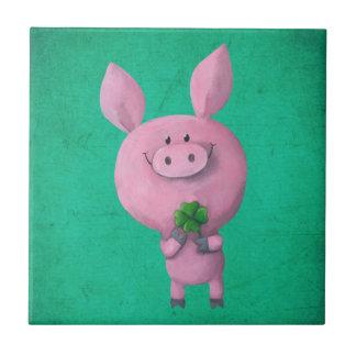 Lucky pig with lucky four leaf clover tiles